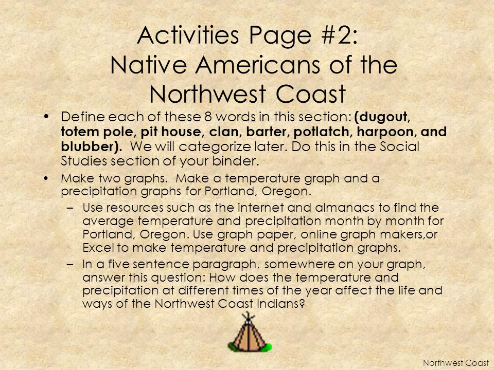 Activities Page #2: Native Americans of the Northwest Coast Define each of these 8 words in this section: (dugout, totem pole, pit house, clan, barter