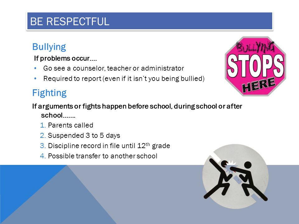 BE RESPECTFUL Bullying If problems occur….
