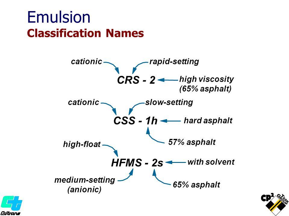 CRS - 2 cationic CSS - 1h hard asphalt HFMS - 2s 65% asphalt with solvent Emulsion Classification Names cationic high-float medium-setting (anionic) s