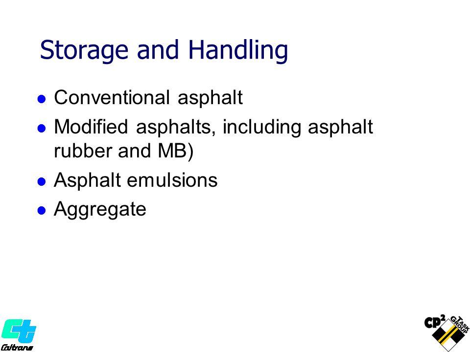 Storage and Handling Conventional asphalt Modified asphalts, including asphalt rubber and MB) Asphalt emulsions Aggregate