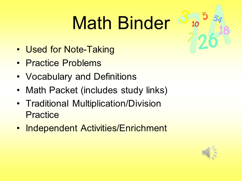 Math Binder Used for Note-Taking Practice Problems Vocabulary and Definitions Math Packet (includes study links) Traditional Multiplication/Division Practice Independent Activities/Enrichment