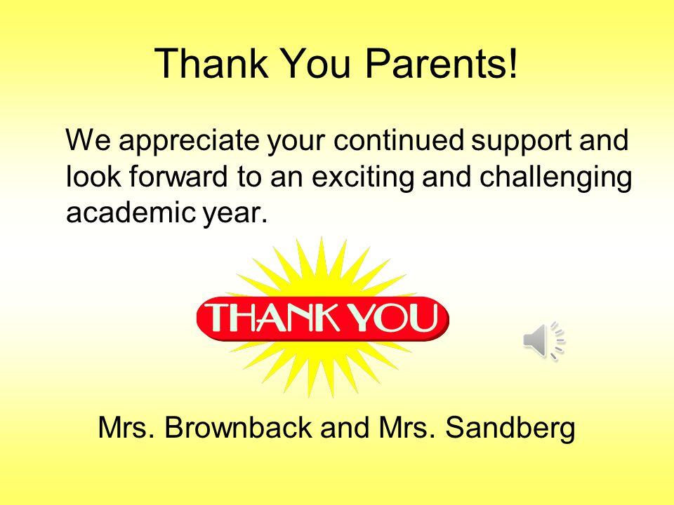 Thank You Parents.