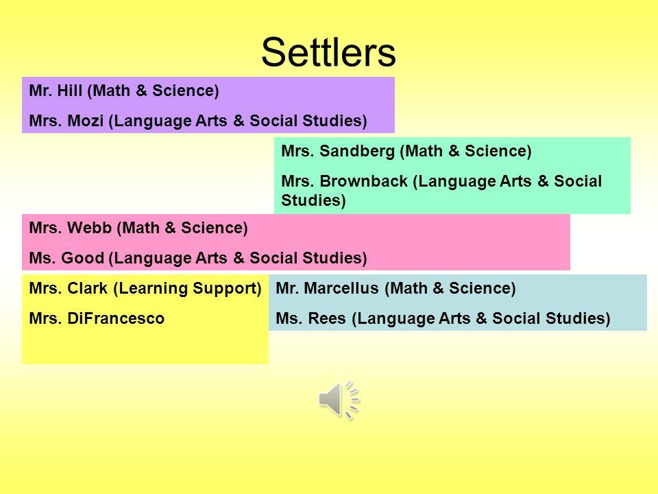 Settlers Mr. Hill (Math & Science) Mrs. Mozi (Language Arts & Social Studies) Mrs.