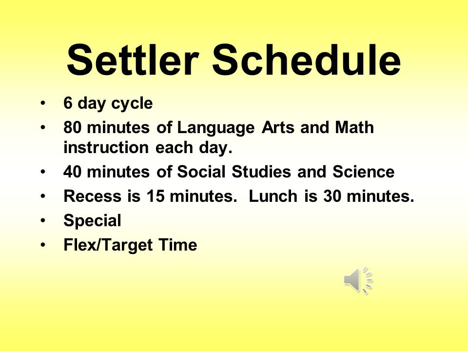 Settler Schedule 6 day cycle 80 minutes of Language Arts and Math instruction each day.