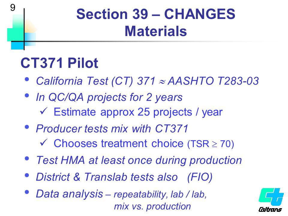 10 Section 39 – CHANGES Construction Processes – Standard  HMA (Type A & B)  RHMA-G  OGAC & RHMA-O Method  Small quantities QC/QA - >10,000 tons  HMA (Type A & B)  RHMA-G