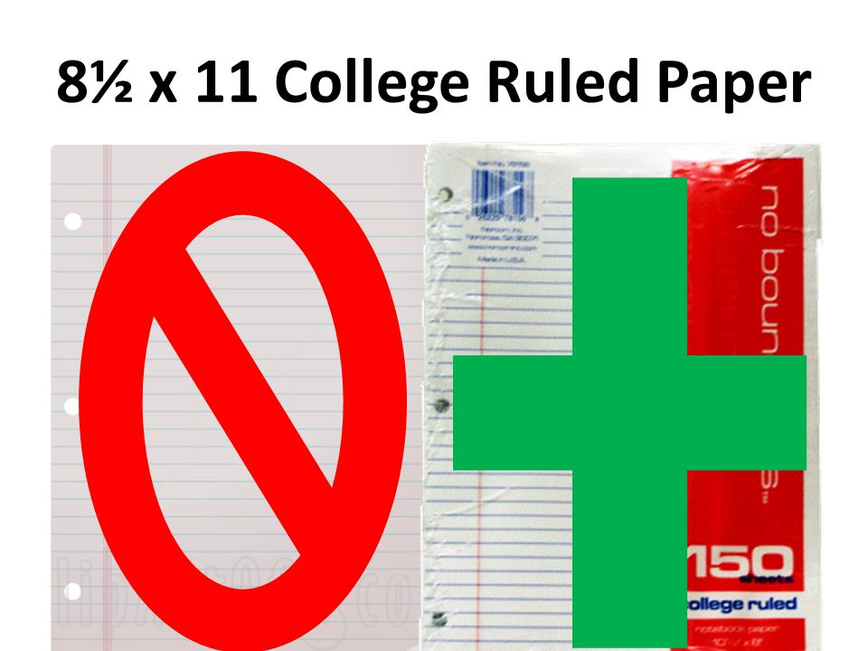8½ x 11 College Ruled Paper