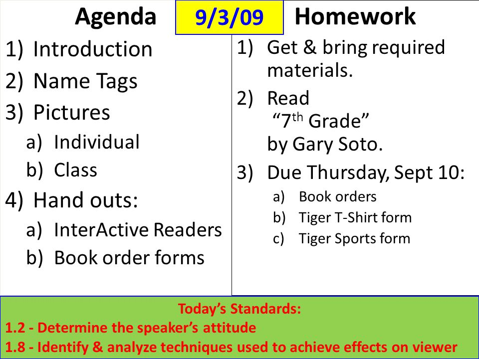 Agenda 1)Introduction 2)Name Tags 3)Pictures a)Individual b)Class 4)Hand outs: a)InterActive Readers b)Book order forms Homework 1)Get & bring require