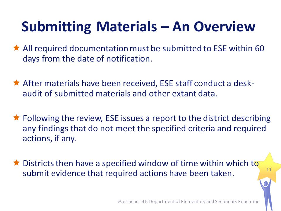 Submitting Materials – An Overview  All required documentation must be submitted to ESE within 60 days from the date of notification.