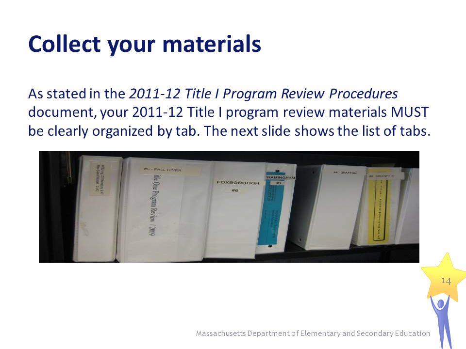Collect your materials As stated in the 2011-12 Title I Program Review Procedures document, your 2011-12 Title I program review materials MUST be clearly organized by tab.