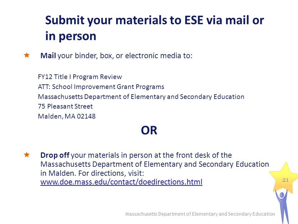Submit your materials to ESE via mail or in person  Mail your binder, box, or electronic media to: FY12 Title I Program Review ATT: School Improvement Grant Programs Massachusetts Department of Elementary and Secondary Education 75 Pleasant Street Malden, MA 02148 OR  Drop off your materials in person at the front desk of the Massachusetts Department of Elementary and Secondary Education in Malden.