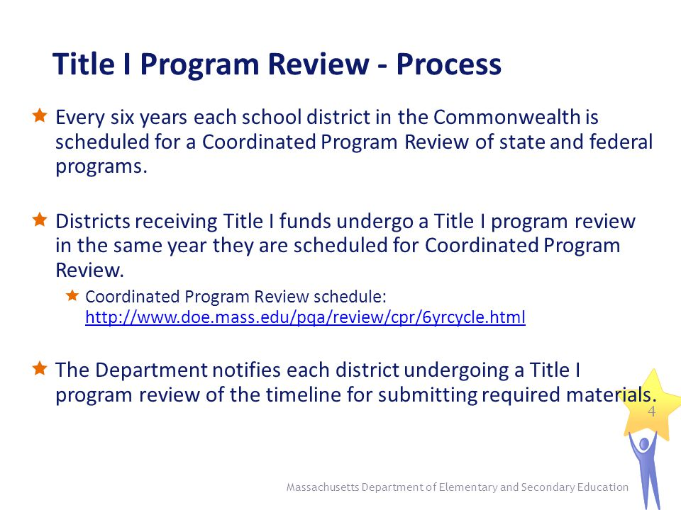 Title I Program Review - Process  Every six years each school district in the Commonwealth is scheduled for a Coordinated Program Review of state and federal programs.