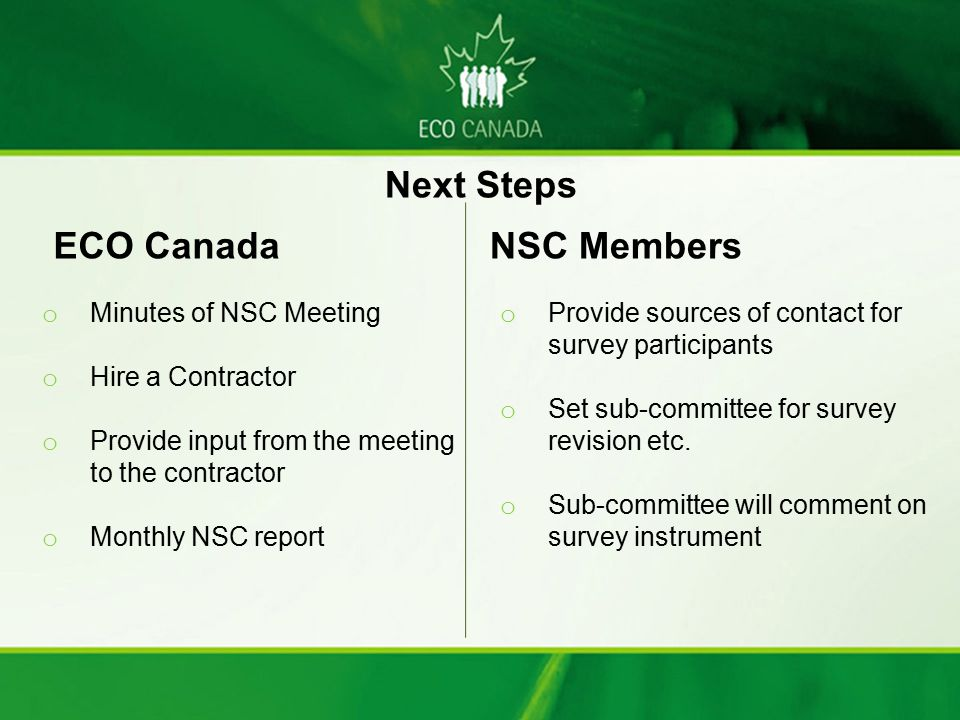 ECO Canada o Minutes of NSC Meeting o Hire a Contractor o Provide input from the meeting to the contractor o Monthly NSC report NSC Members o Provide