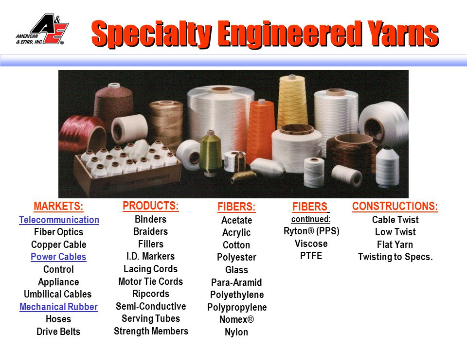 Specialty Engineered Yarns There Is A Difference!