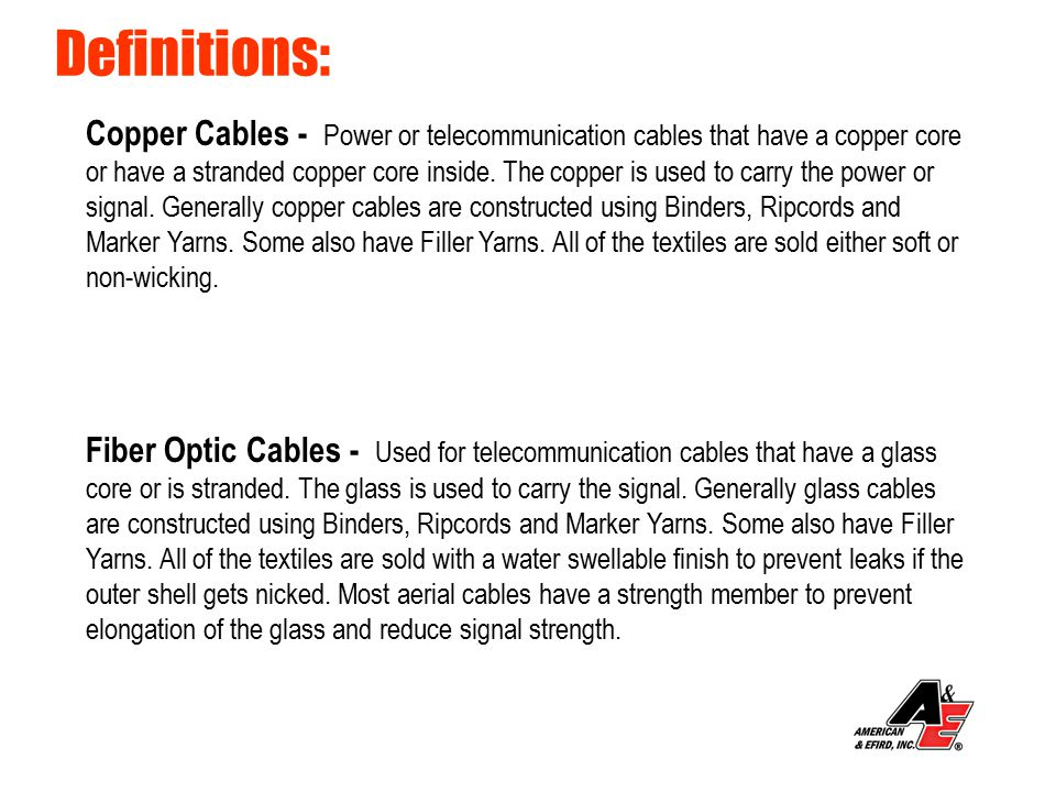 Telecommunication Cable Ripcord 2 - Primary Types – Copper Cables Fiber Optic Cables