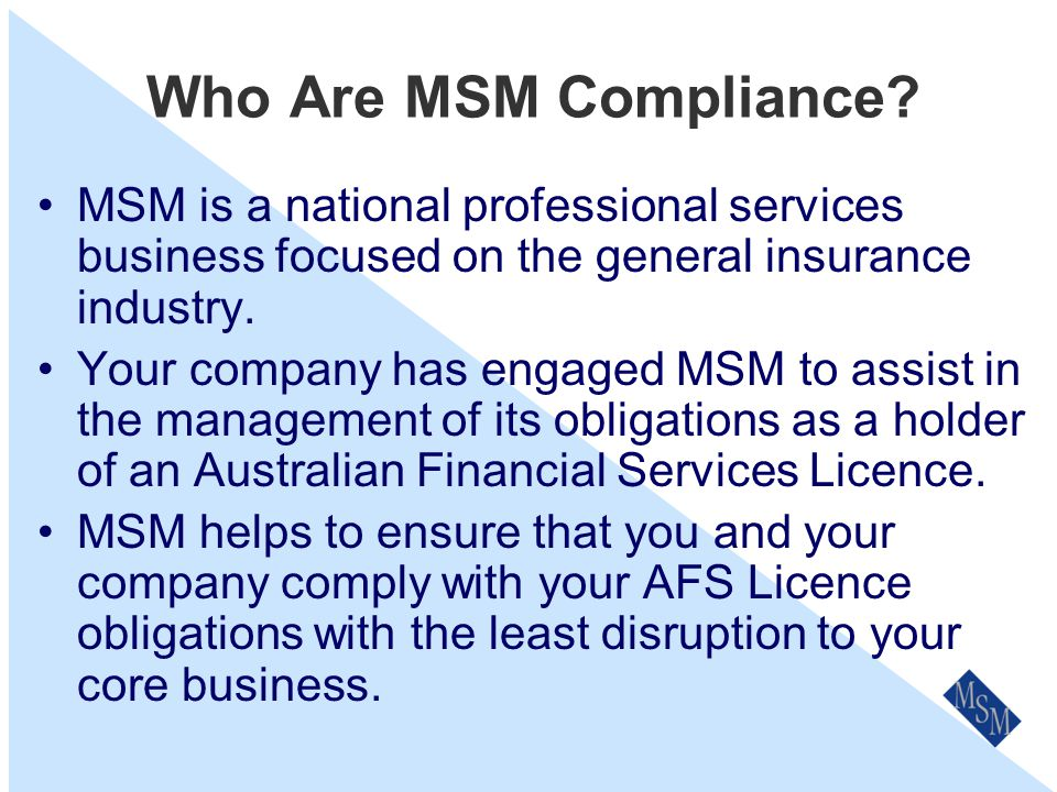 Conflicts of Interest An Overview for Staff Prepared by MSM Compliance Services P/L
