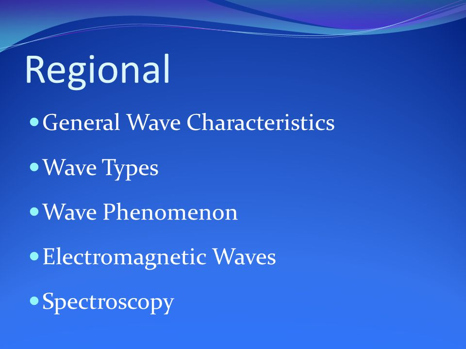 Regional General Wave Characteristics Wave Types Wave Phenomenon Electromagnetic Waves Spectroscopy