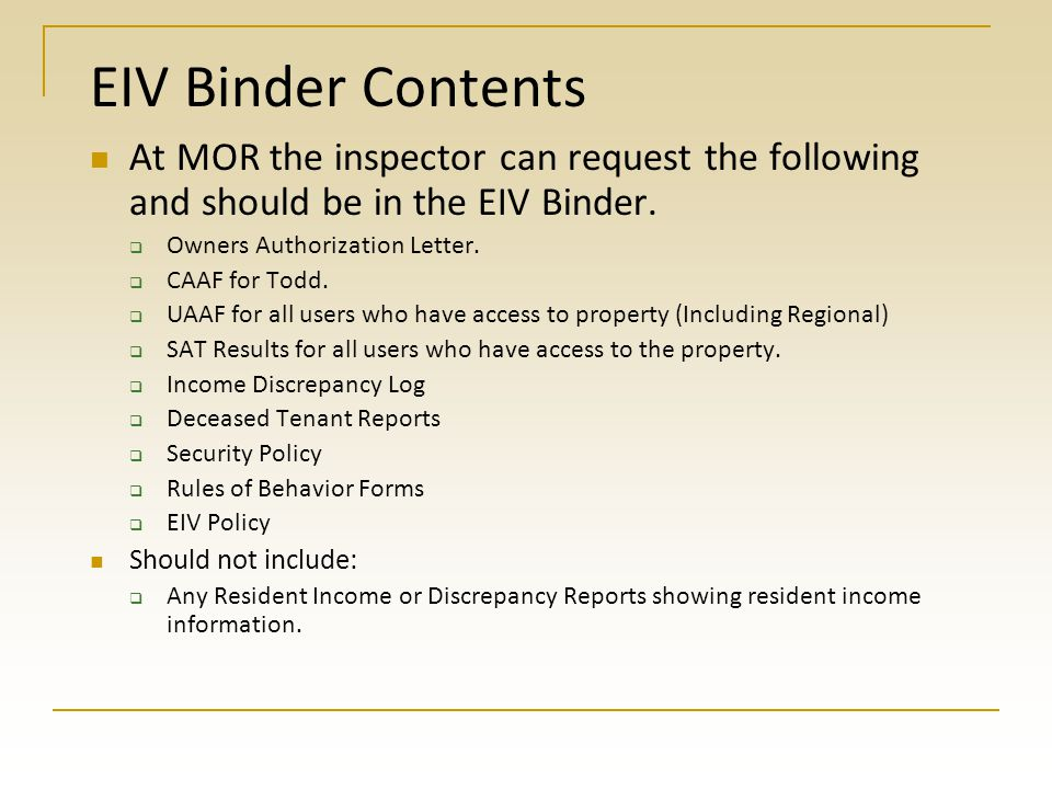 EIV Discrepancies and other info.