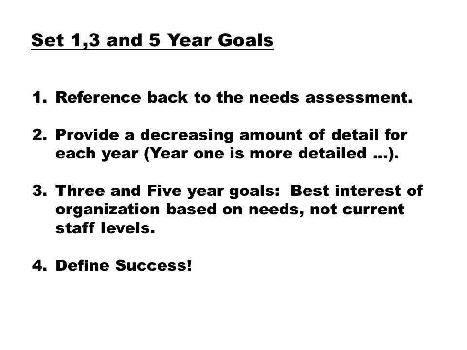 Set 1,3 and 5 Year Goals 1.Reference back to the needs assessment.
