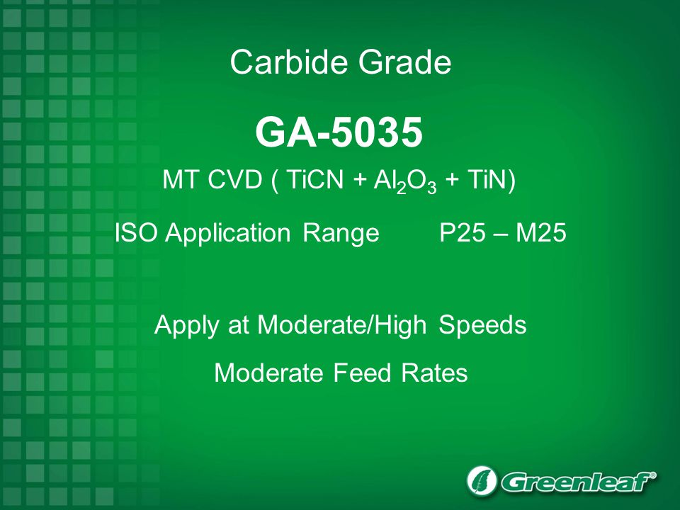 GA-5035 MT CVD ( TiCN + Al 2 O 3 + TiN) ISO Application Range P25 – M25 Apply at Moderate/High Speeds Moderate Feed Rates Carbide Grade