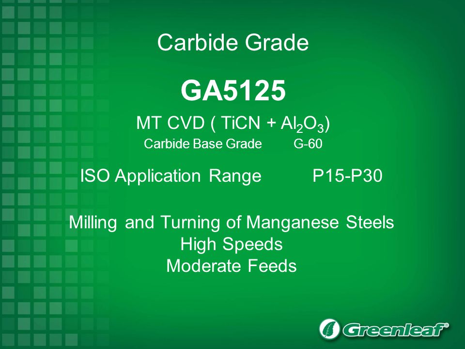 GA5125 MT CVD ( TiCN + Al 2 O 3 ) Carbide Base Grade G-60 ISO Application RangeP15-P30 Milling and Turning of Manganese Steels High Speeds Moderate Fe