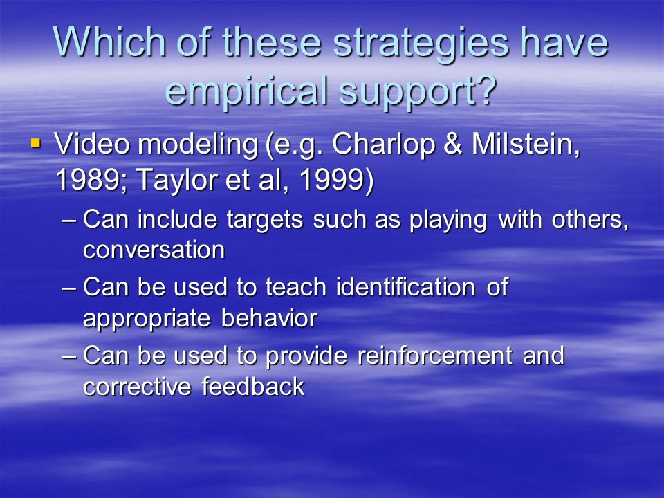 Which of these strategies have empirical support.  Video modeling (e.g.