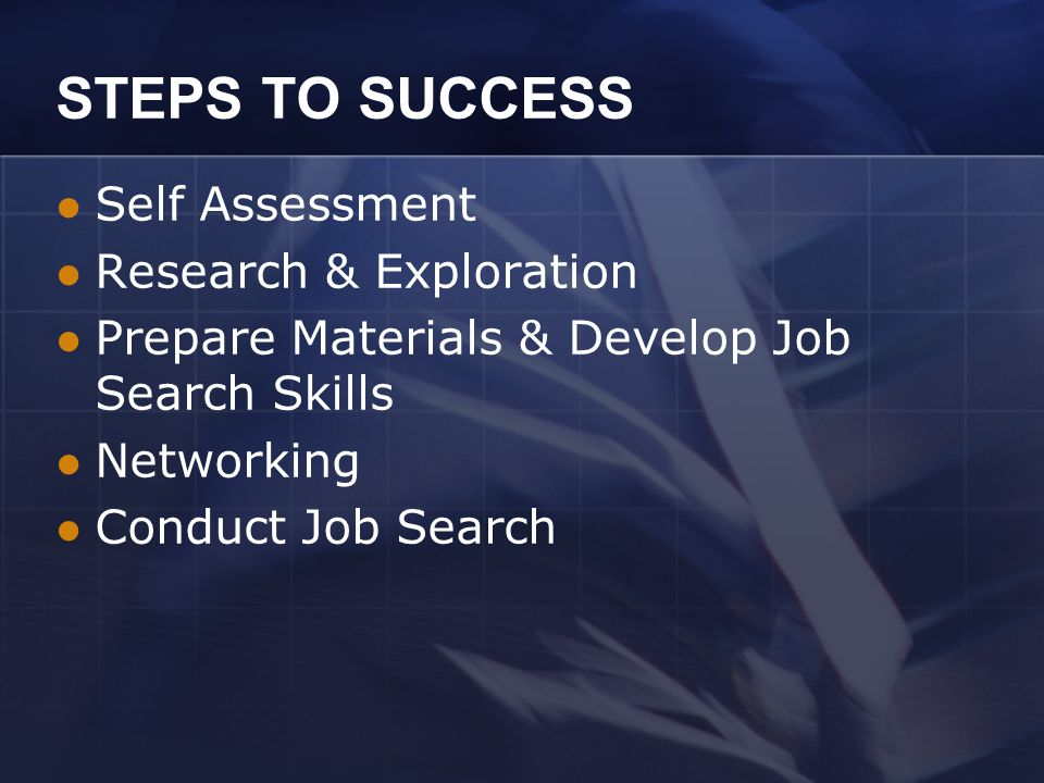 STEPS TO SUCCESS Self Assessment Research & Exploration Prepare Materials & Develop Job Search Skills Networking Conduct Job Search