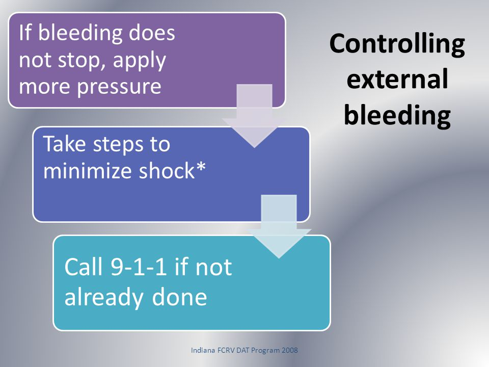 Controlling external bleeding If bleeding does not stop, apply more pressure Take steps to minimize shock* Call 9-1-1 if not already done