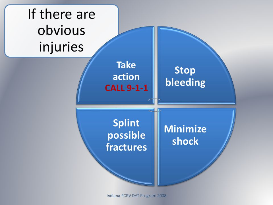 Indiana FCRV DAT Program 2008 If there are obvious injuries Take action CALL 9-1-1 Stop bleeding Minimize shock Splint possible fractures