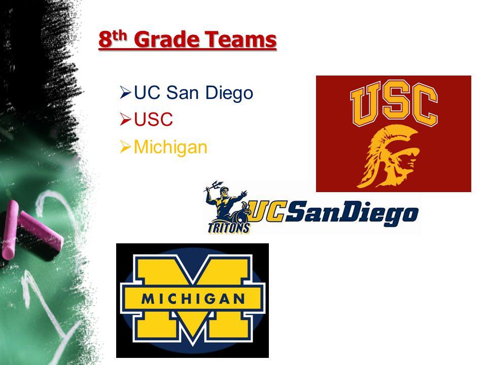8 th Grade Teams  UC San Diego  USC  Michigan