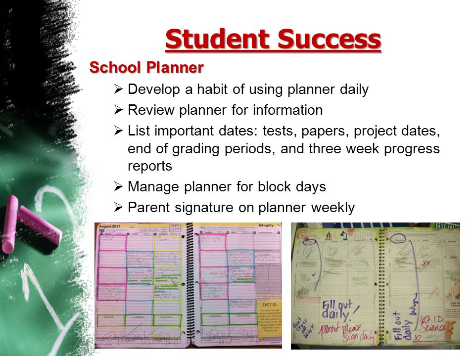Student Success School Planner  Develop a habit of using planner daily  Review planner for information  List important dates: tests, papers, projec