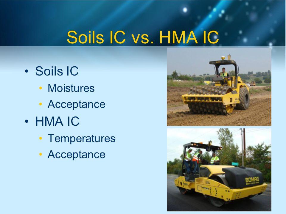 Soils IC vs. HMA IC Soils IC Moistures Acceptance HMA IC Temperatures Acceptance