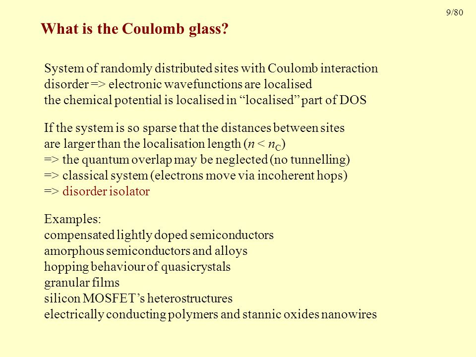 9/80 What is the Coulomb glass.