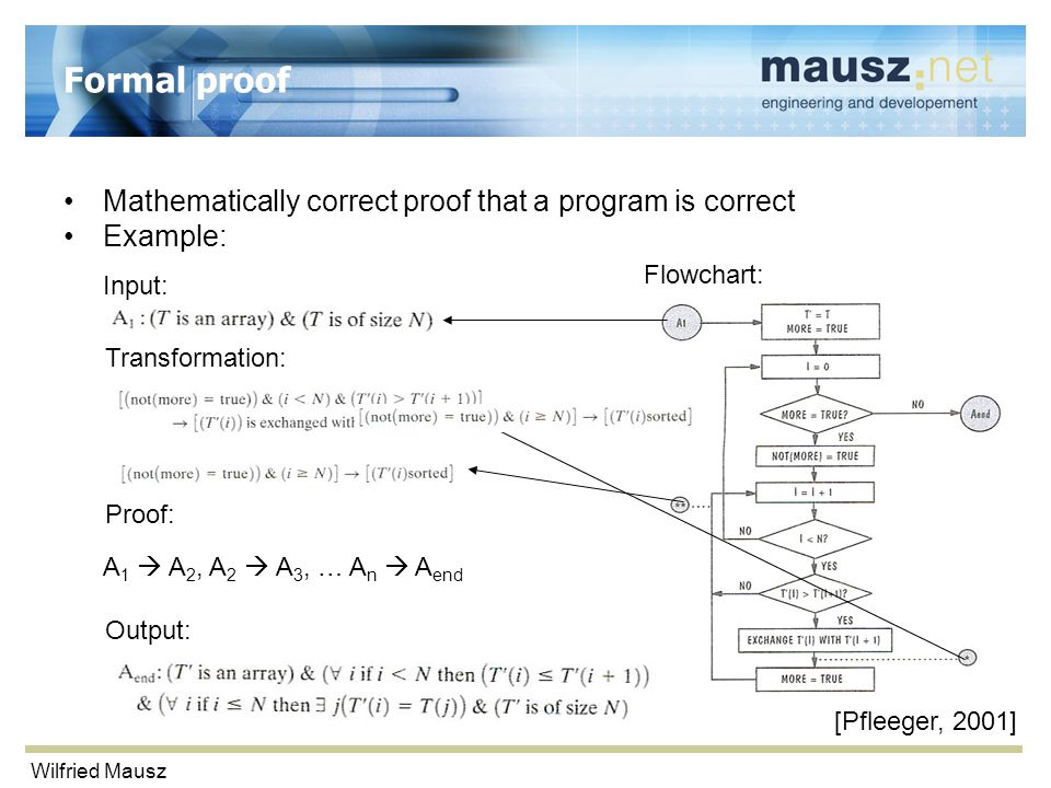 Wilfried Mausz Formal proof Mathematically correct proof that a program is correct Example: Input: Output: Flowchart: Transformation: Proof: A 1  A 2, A 2  A 3, … A n  A end [Pfleeger, 2001]