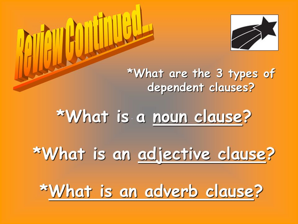 *What are the 3 types of dependent clauses. *What is a noun clause.