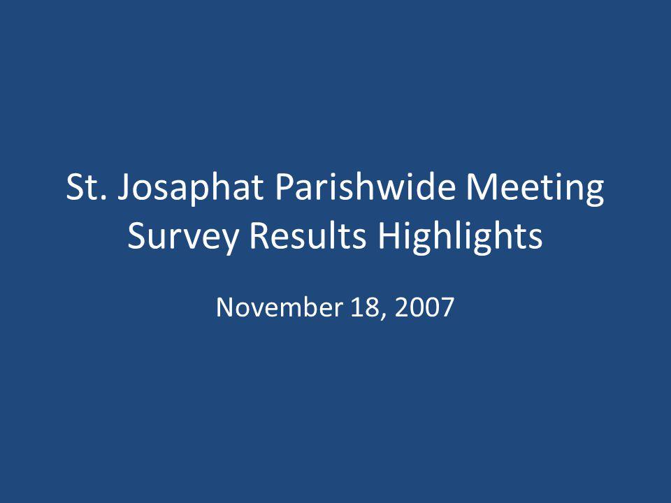 St. Josaphat Parishwide Meeting Survey Results Highlights November 18, 2007