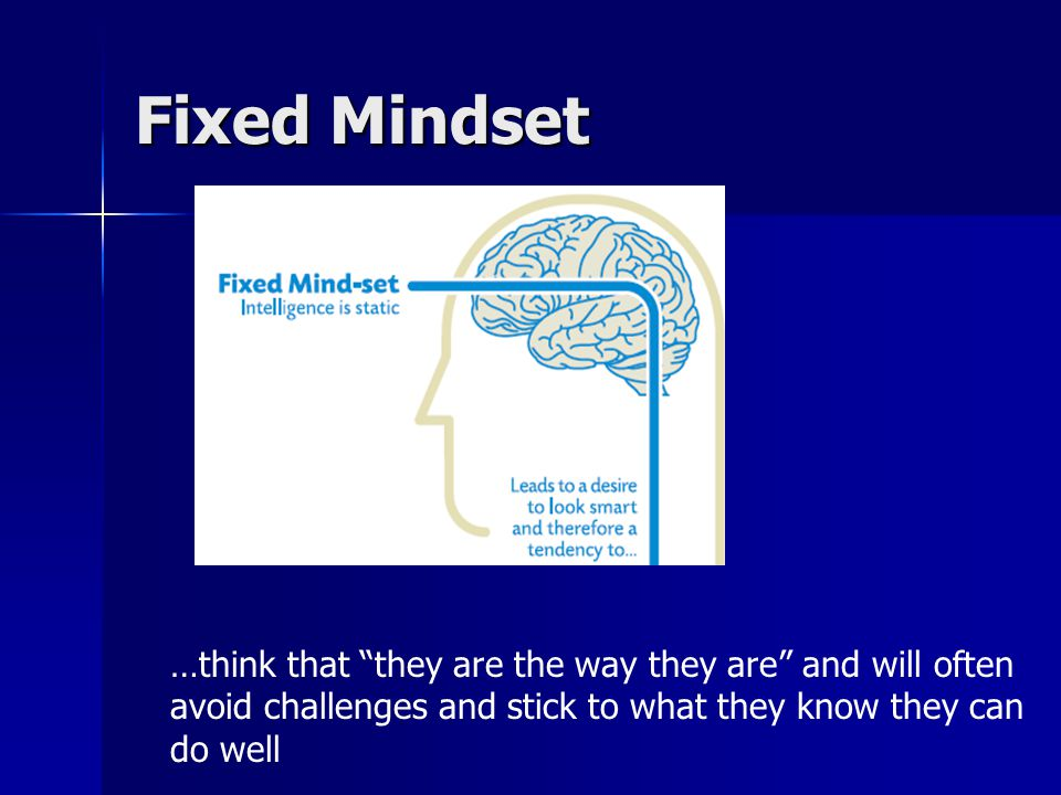 Growth Mindset …believe that intelligence can be developed, that the brain is like a muscle that can be trained.