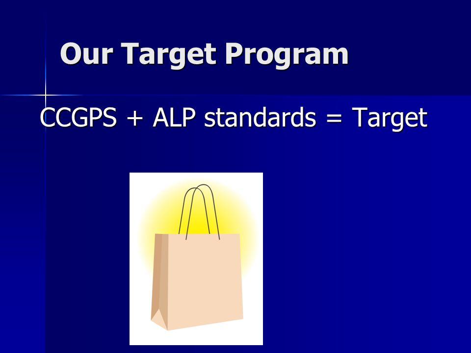 Our Target Program CCGPS + ALP standards = Target