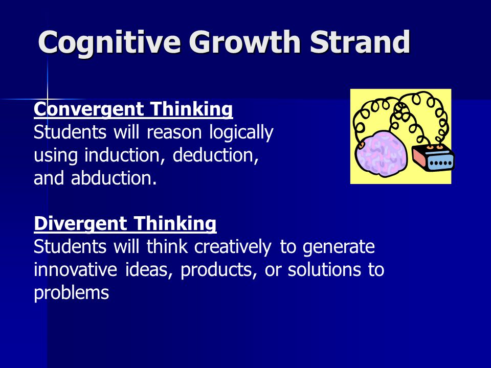 Cognitive Growth Strand Convergent Thinking Students will reason logically using induction, deduction, and abduction.