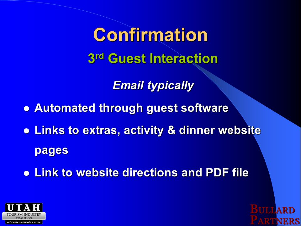 Confirmation 3 rd Guest Interaction Email typically Automated through guest software Automated through guest software Links to extras, activity & dinner website pages Links to extras, activity & dinner website pages Link to website directions and PDF file Link to website directions and PDF file