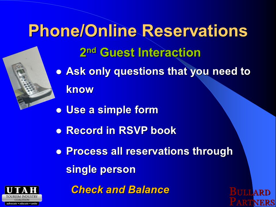 Pre-Arrival Email 4 th Guest Interaction Looking forward to your stay Reminder about Dinner Reservations with Links Reminder about Dinner Reservations with Links Reminder about Activities requiring Reservations with Links Reminder about Activities requiring Reservations with Links Links to Weather website Links to Weather website Things not to Pack (e.g.