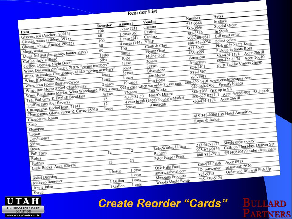 Create Reorder Cards