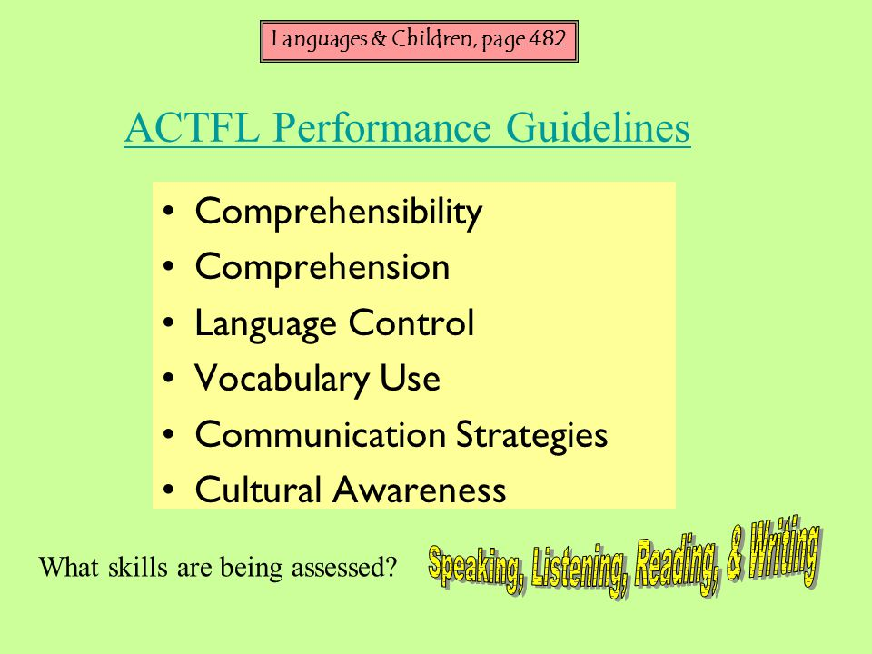 ACTFL Performance Guidelines Comprehensibility Comprehension Language Control Vocabulary Use Communication Strategies Cultural Awareness What skills are being assessed.