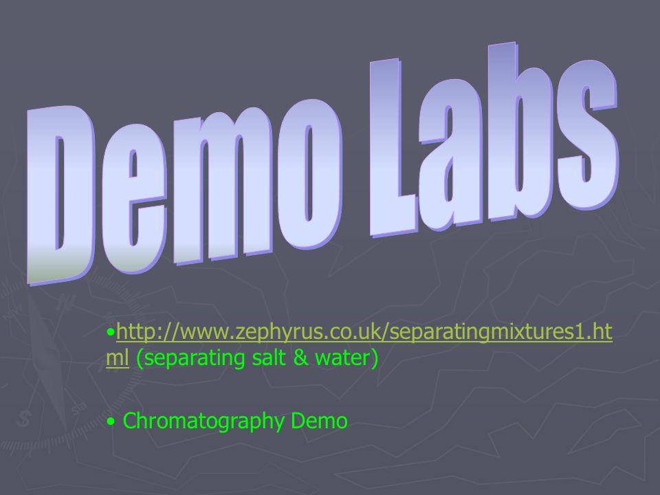 http://www.zephyrus.co.uk/separatingmixtures1.ht ml (separating salt & water)http://www.zephyrus.co.uk/separatingmixtures1.ht ml Chromatography Demo