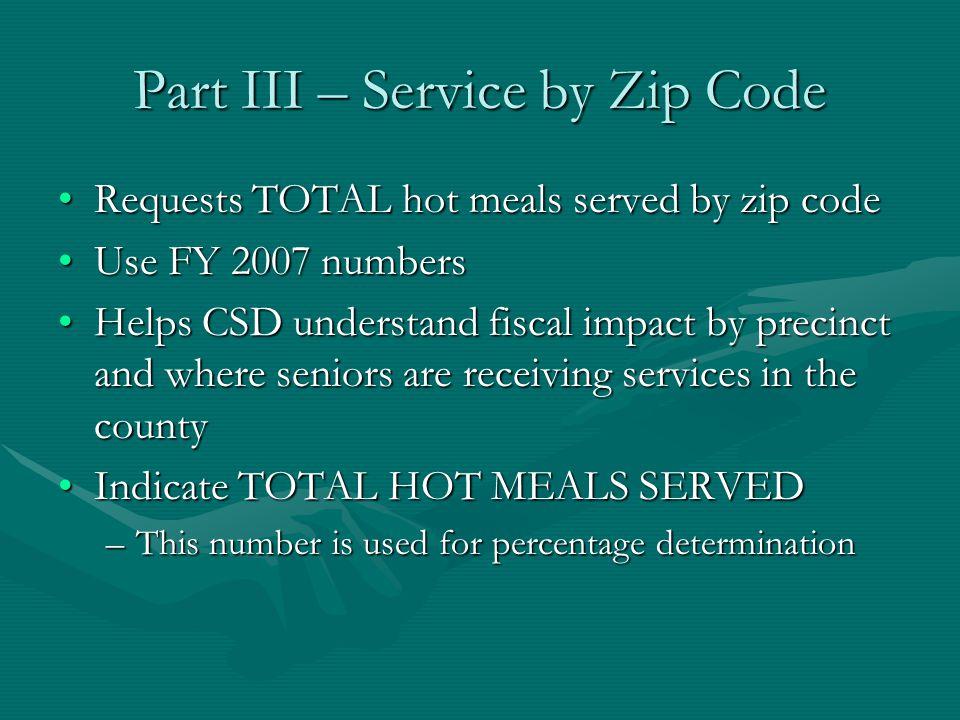 Part III – Service by Zip Code Requests TOTAL hot meals served by zip codeRequests TOTAL hot meals served by zip code Use FY 2007 numbersUse FY 2007 n
