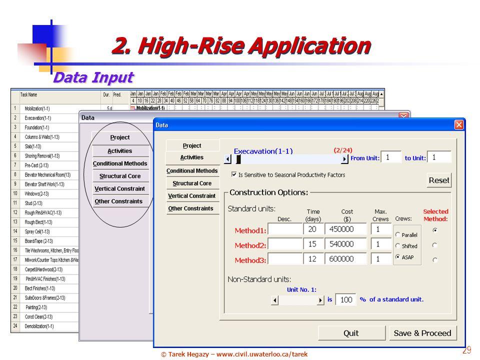 © Tarek Hegazy – www.civil.uwaterloo.ca/tarek 29 Data Input 2. High-Rise Application