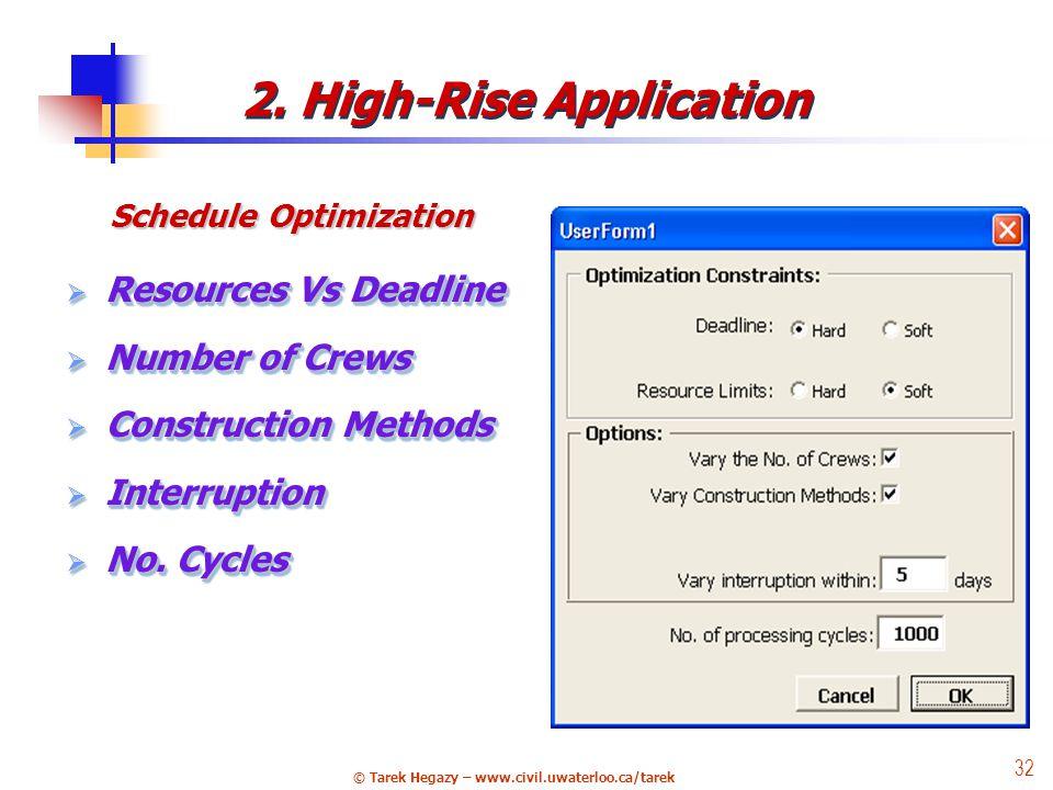 © Tarek Hegazy – www.civil.uwaterloo.ca/tarek 32 Schedule Optimization  Resources Vs Deadline  Number of Crews  Construction Methods  Interruption  No.