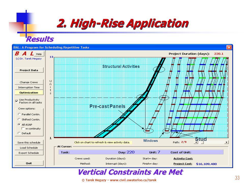 © Tarek Hegazy – www.civil.uwaterloo.ca/tarek 33 Results Structural Activities Pre-cast Panels Stud Windows Vertical Constraints Are Met 2.