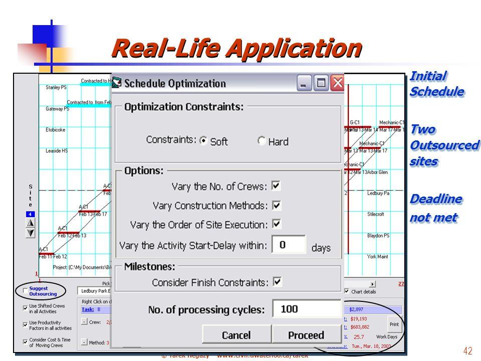 © Tarek Hegazy – www.civil.uwaterloo.ca/tarek 42 Real-Life Application Initial Schedule Two Outsourced sites Deadline not met Initial Schedule Two Outsourced sites Deadline not met