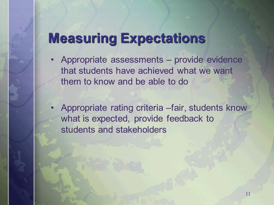 11 Measuring Expectations Appropriate assessments – provide evidence that students have achieved what we want them to know and be able to do Appropriate rating criteria –fair, students know what is expected, provide feedback to students and stakeholders