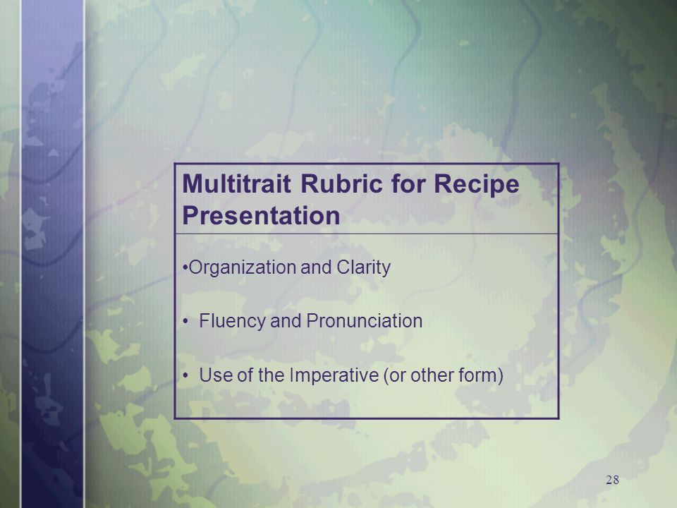 28 Multitrait Rubric for Recipe Presentation Organization and Clarity Fluency and Pronunciation Use of the Imperative (or other form)